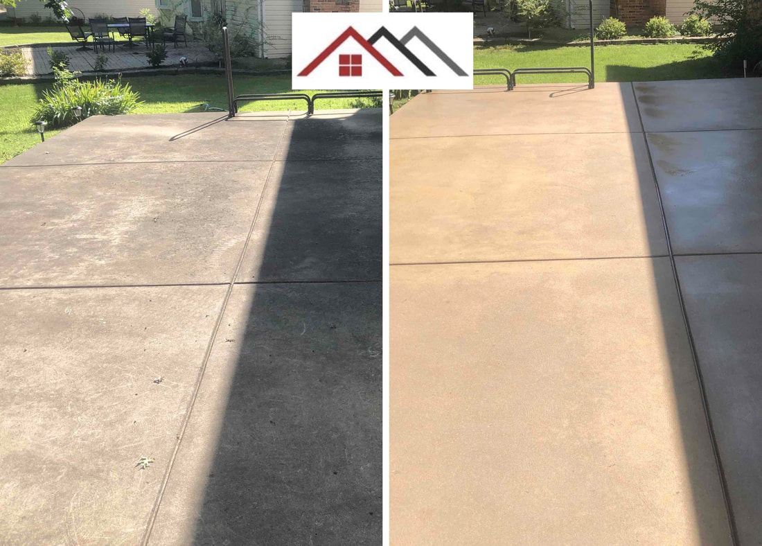 concrete cleaning and sealing before and after Jefferson County Missouri